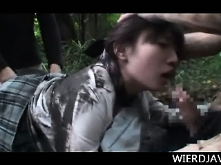 Teen jap girl pseudonymous from school together with creampied in the woods