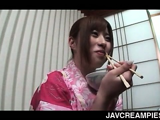 Asian sex dinner with hot geisha pussy insincere and creampied