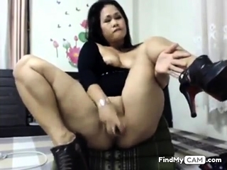 asian slut toying her ass and pussy
