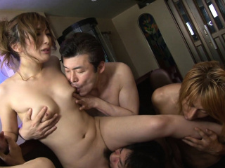 Japanese Aiko Nagai is having her cunning orgy uncensored