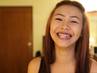 Asian pithy titted teen with braces