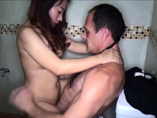 Hot unprofessional Thai freelance join in matrimony spoonful condom sex session