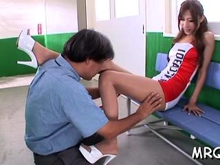 Amazing nipponese Karen Kogure gets pink gash drilled