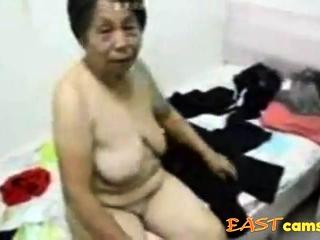 Asian Grandma get dressed stopping sex