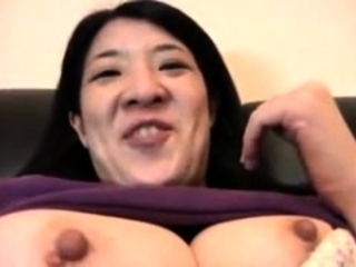 Busty Japanese hairy twat toying